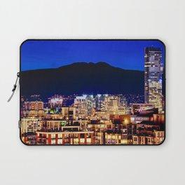 Blue Twilight Sky - Shangri La Hotel and Vancouver Grouse Mountain British Columbia Canada Travel Laptop Sleeve