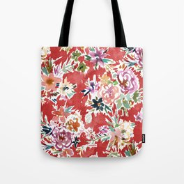 WILD LOVE Bold Red Floral Tote Bag