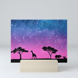 Giraffe Rhino Silhouette Mini Art Print