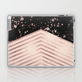 Luxury Rose Gold Pink Black Chevron Paint Splatter Laptop & iPad Skin