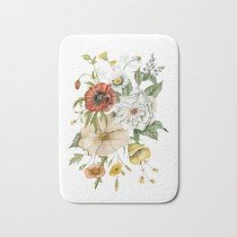 Wildflower Bouquet on White Bath Mat