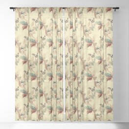 Antique Floral Pattern - Mint & Rust Colors on Beige / Yellow Sheer Curtain
