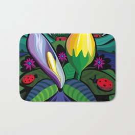 Blooming Flowers (Square Format) Bath Mat