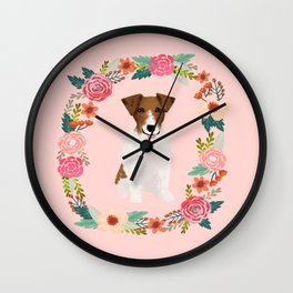 jack russell terrier floral wreath dog breed pet portrait pure breed dog lovers Wall Clock
