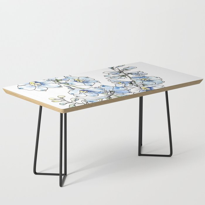 Blue Delphinium Flowers Coffee Table
