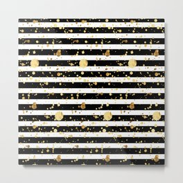Stripes & Gold Splatter - Horizontal Metal Print