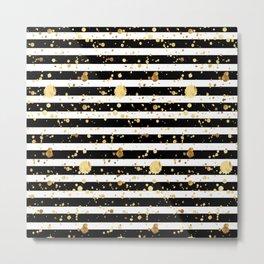 Stripes & Gold Splatter - Horizontal Metal Print