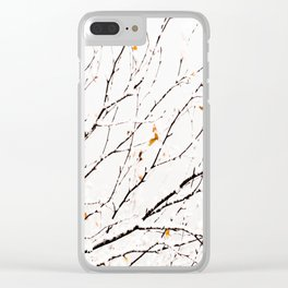 Snowy birch twigs and leaves #society6 #decor #buyart Clear iPhone Case