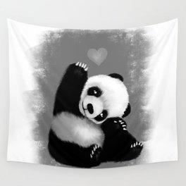 Panda Love (Monochrome) Wall Tapestry