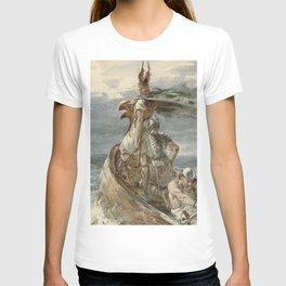 Vintage Raiding Vikings Painting (1873) T-shirt