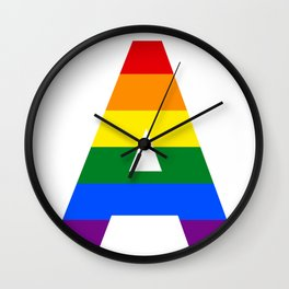 Rainbow letters A LGBT GAY PRIDE SEASON TYPOGRAPHY LGBTQIA Wall Clock