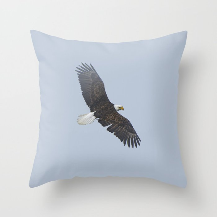 Soaring - Bald Eagle and Blue Sky Throw Pillow