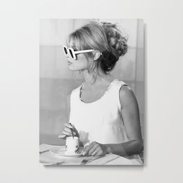 Brigitte Bardot in Sunglasses Retro Vintage Art Metal Print