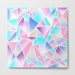 Girly Gradient Geometric Triangles in Pink Teal Metal Print