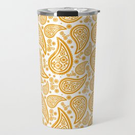 Paisley (Orange & White Pattern) Travel Mug