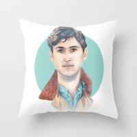 vampire weekend Throw Pillows featuring Ezra Koenig, Vampire Weekend by Megan Diño