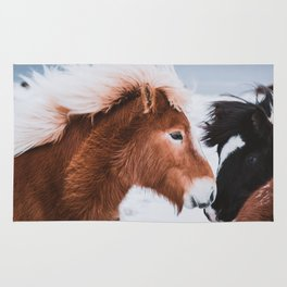 Icelandic Horses in Winter Landscape of Iceland Rug