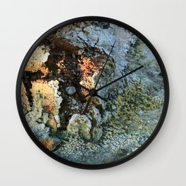 Growths on the Rocks by Geysers in Iceland Wall Clock