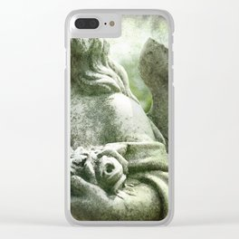 Angelic Cherub Looks Over The Headstones Clear iPhone Case