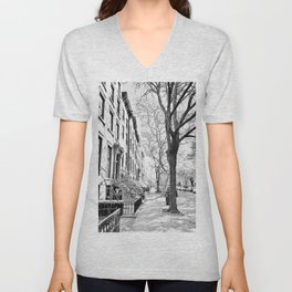 Cobble Hill Brooklyn Winter Black and White Brownstone Unisex V-Neck