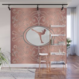 Figure Skating Collection in Delicate Rose Gold Foil Effect and Grey Design Wall Mural