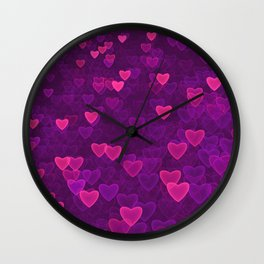 Abstract Pink Ultra Violet Love Heart Pattern | St Valentines day Wall Clock