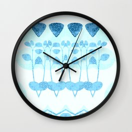 Flower Pot Blue Wall Clock
