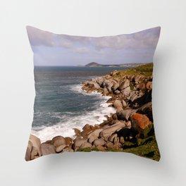 Rocky Island Coastline Throw Pillow