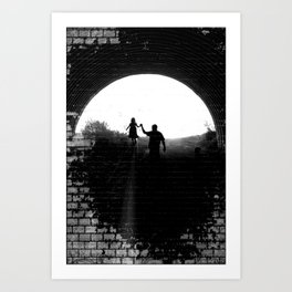 Little Princess in the Tunnel Art Print