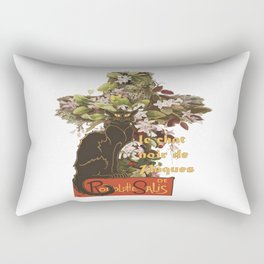 Easter Le Chat Noir de Paques With Floral Cross Rectangular Pillow