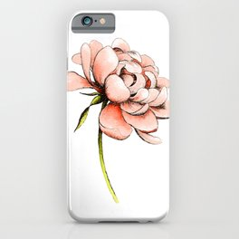 Coral Pink Peony iPhone Case