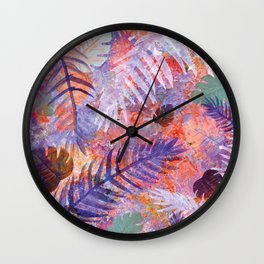 Colourful Palm Electric Garden  #tropical #palm #society6 Wall Clock