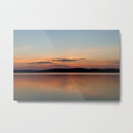 "Travel Photography ""Sunset over a lake in Sweden, Scandinavia"" pink pastel colors. Fine art photo print for wall art.  Metal Print"