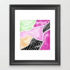 Modern abstract bright watercolor block geometric stripes pattern Framed Art Print