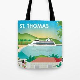 St. Thomas, U.S. Virgin Islands - Skyline Illustration by Loose Petals Tote Bag