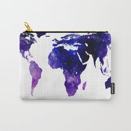 World Map Purple Blue Galaxy Carry-All Pouch