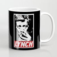 david lynch Mugs featuring David Lynch smoke II by Spyck