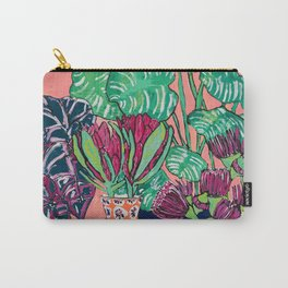 Cluster of Houseplants and Proteas on Pink Still Life Painting Carry-All Pouch