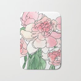 Pink Peony Watercolor Painting Bath Mat