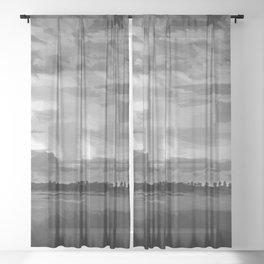 hurricane storm landscape digital oil painting akvop bw Sheer Curtain