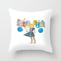 solar system Throw Pillows featuring Solar System by Owlsoul