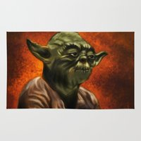jedi Area & Throw Rugs featuring Master Jedi Yoda by Wesley S Abney