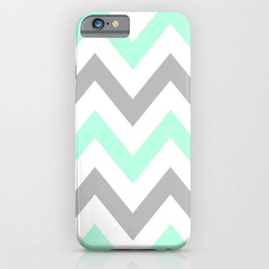 MINT & GRAY CHEVRON iPhone & iPod Case