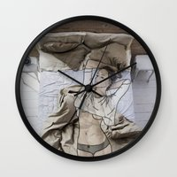 bed Wall Clocks featuring A day in bed by Laure.B