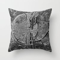 map Throw Pillows featuring Paris map by Le petit Archiviste