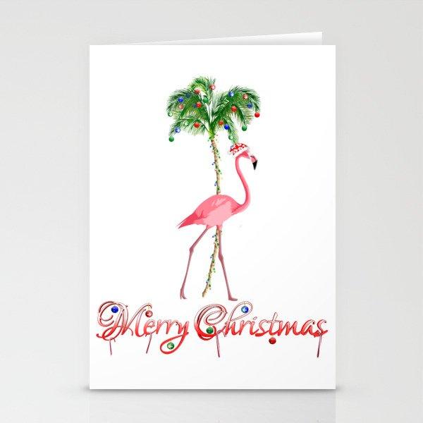 Flamingo Christmas Cards.Merry Christmas Pink Flamingo Beach Xmas Stationery Cards By Chrismacdonaldstudios