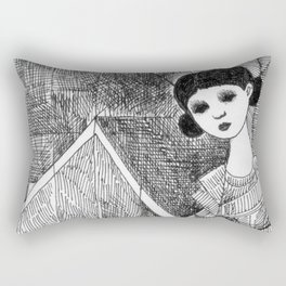 Girl on the top of her house. Rectangular Pillow