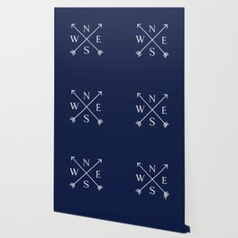 Navy Blue and White Compass Arrows Wallpaper