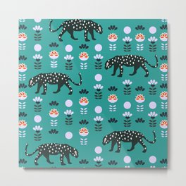 Cute jaguars and wildflowers Metal Print