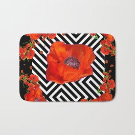 BLACK ORANGE POPPIES MODERN ART GARDEN Bath Mat